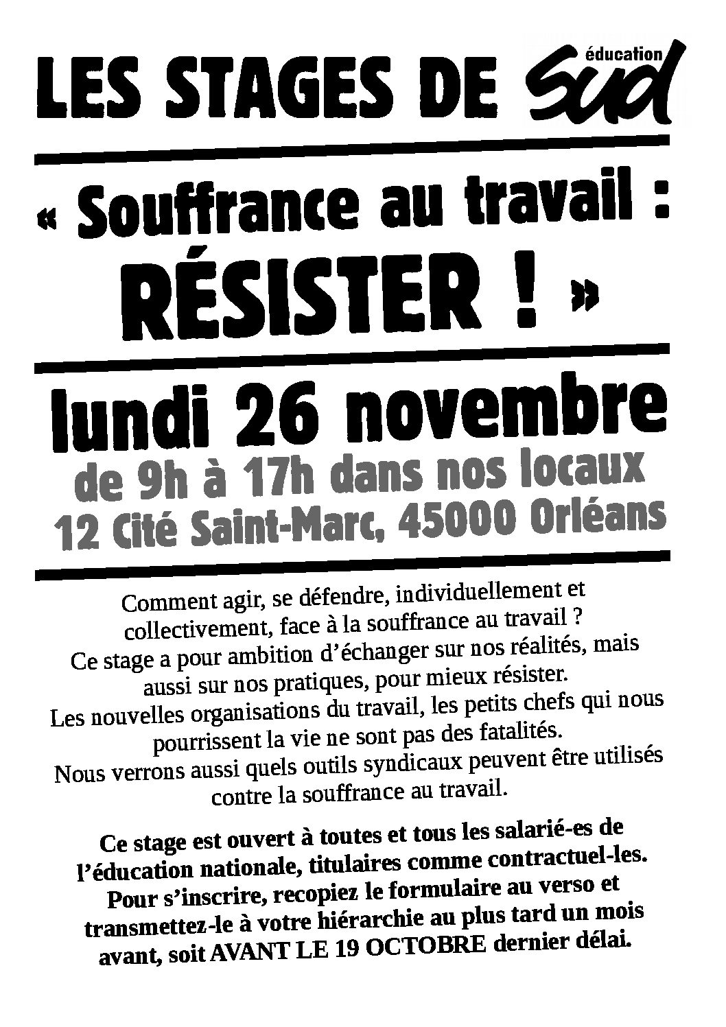 Stage Sud éducation «Souffrance au travail» le 26 novembre 2018